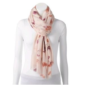 LC Lauren Conrad painted blooms oblong scarf.